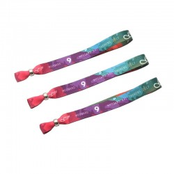 Polyester Material one-time use Custom Cloth Wristbands With Heat transfer printing Logo